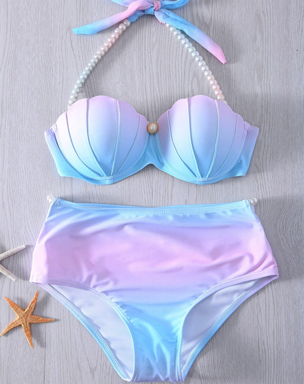60e419056c31a YAOYUE-US Womens Mermaid Shell Bikini Sets Pearl Strap Halter Padded  Push-up Swimsuit Beachwear (Tag M/US4-6, Light Blue) < Sets < Clothing,  Shoes & Jewelry ...