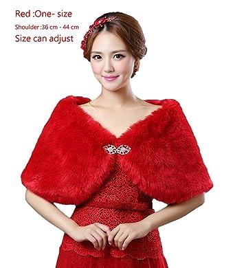 0edee4fb864 Amazon.com  Diandiai Bridal Wrap Faux Fur Shawl for Wedding Winter Warm Faux  Fur Shawl (one-size