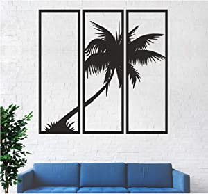 "3 Panels Metal Palm Tree Wall Art, Metal Tree Wall Art, Tree Sign, Metal Wall Decor, Interior Decoration, Wall Hangings, 3 Pieces (40""W x 39""H / 102x100 cm)"
