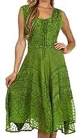 Sakkas Sundara Stonewashed Rayon Embroidered Mid Length Dress Green 1X-2X