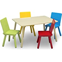Delta Children Kids Chair Set and Table (4 Chairs Included), Natural/Primary
