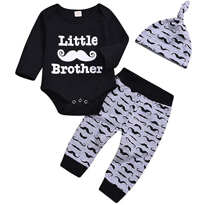 3c504001f6fc Amazon.com  Mini honey 3Pcs Infant Baby Boy Moustache Printed Little ...