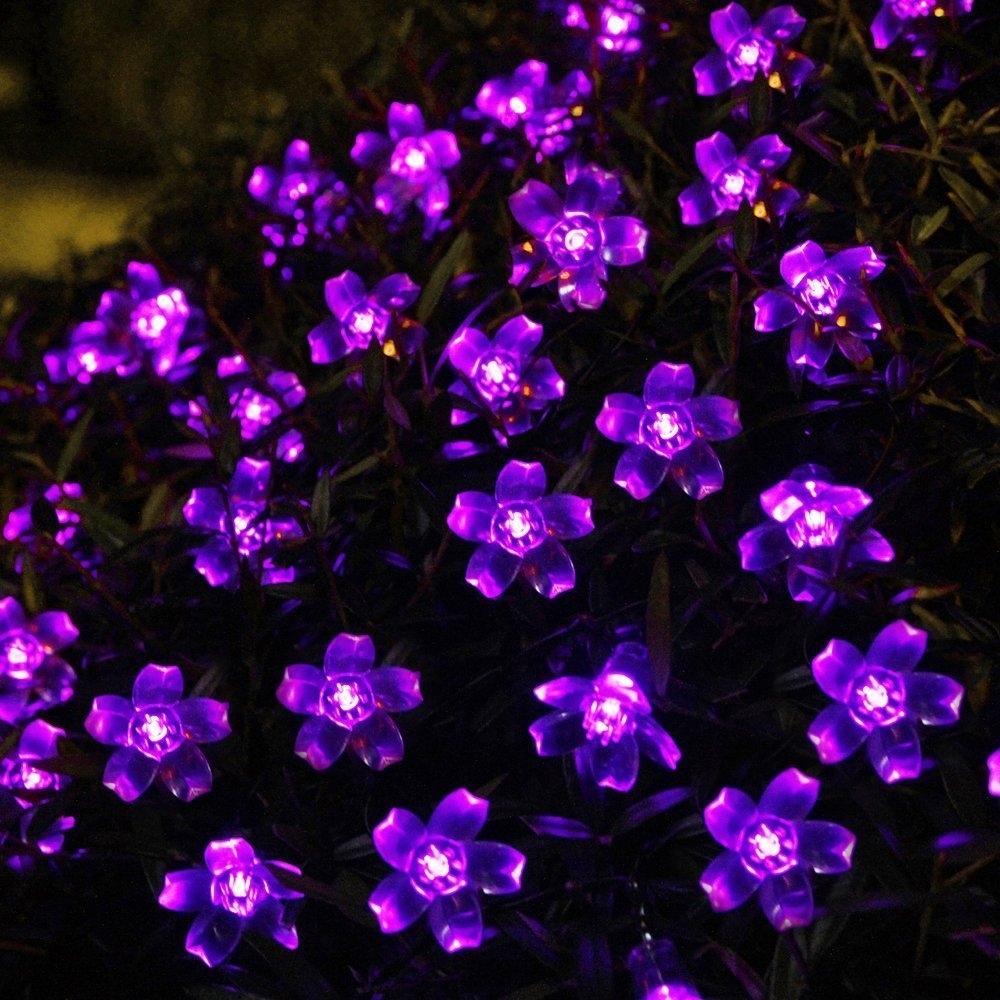 innoo tech solar flower string lights outdoor fairy 50 led blossom lighting for garden patio path christmas indoor party purple rope lights amazon amazing garden lighting flower