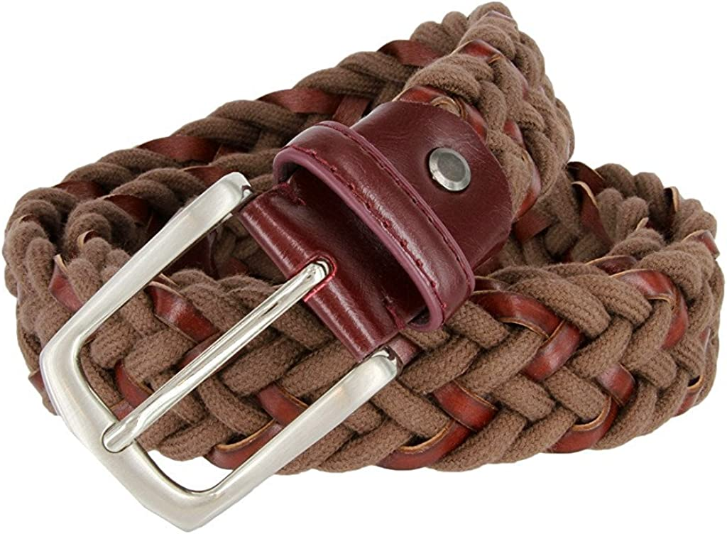 Hagora Men Interwoven Bonded Leather /& Cotton Leather Tabs Silver Buckle Belt