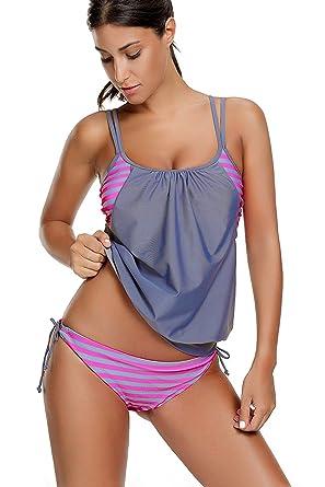 c658000d5b29 Damen Tankini mit Slip Streifen Bauchweg Bademode Zweiteilig Beachwear  Badeanzug Grau und Rosa Streifen M