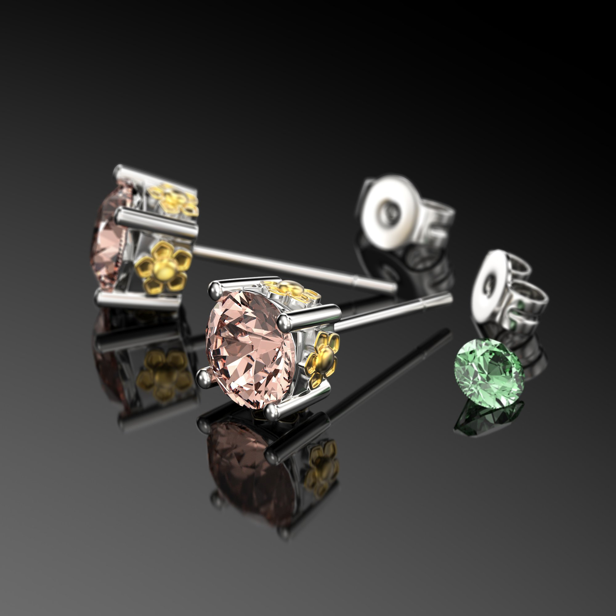 VAN LECONY White Gold and Gold Plated Flower Stud Earrings,Light Peach by VAN LECONY (Image #2)