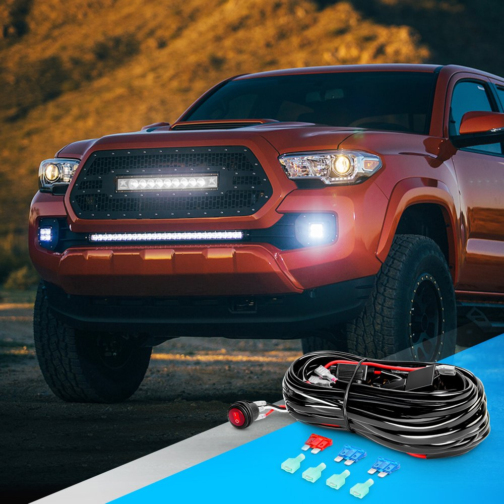 Nilight 10020W LED Light Bar Wiring Harness Kit 16AWG 12V On Off Waterproof Switch Power Relay Blade Fuse-2 Lead,2 Years Warranty