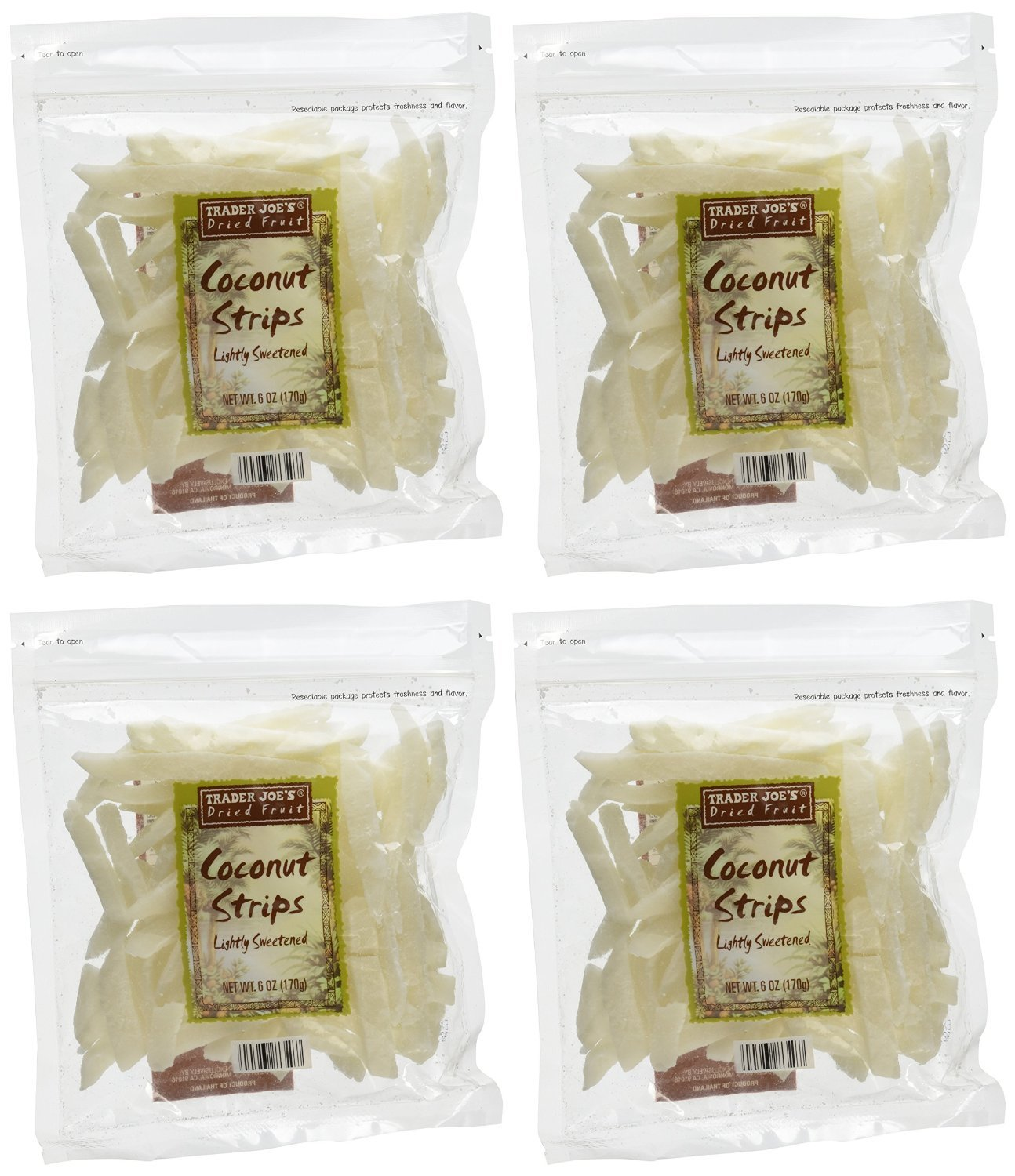 Amazon Com Trader Joe S Coconut Strips Pack Of 4 Coconut Flakes Grocery Gourmet Food