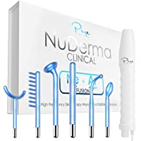 NuDerma Clinical Skin Therapy Wand - Portable High Frequency Skin Therapy Machine w 6 FUSION Neon + Argon Wands – Anti…
