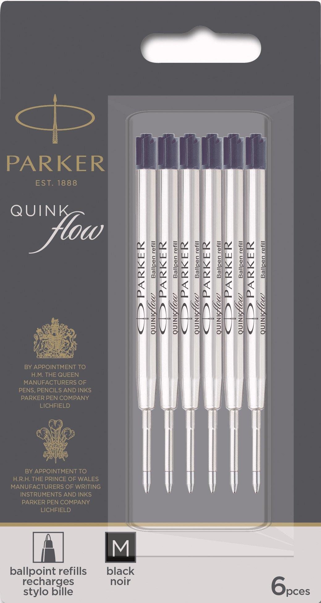 Parker QUINKflow Ballpoint Pen Ink Refills, Medium Tip, Black, 6 Count Value Pack (2025154) by Parker