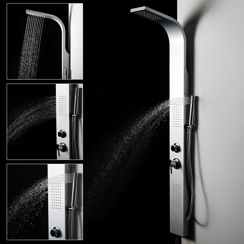 HOMCOM 65'' Aluminium Wall Mount Multi Stage Rain Waterfall & Massage Thermostatic Luxury Shower Tower Panel