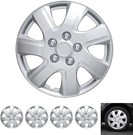 """BDK Wheel Guards – (4 Pack) Hubcaps for Car Accessories Wheel Covers Snap Clip-On Auto Tire Rim Replacement for 16 inch Wheels 16"""" Hub Caps (Textured ..."""