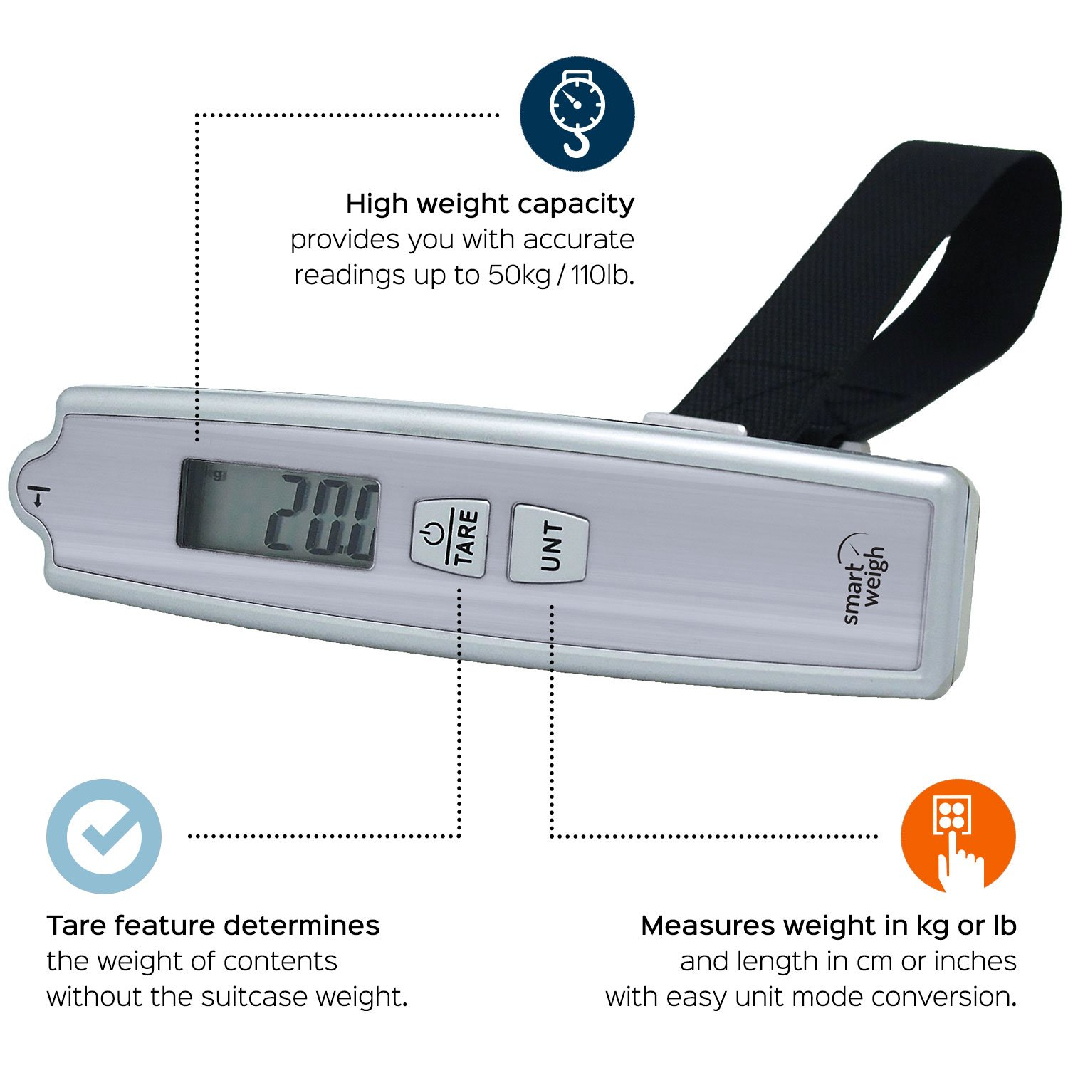 Product spotlight meet the eatsmart precision digital bathroom scale - Amazon Com Smart Weigh 50kg 110lb Digital Postal Luggage Scale With Electronic Ruler Hanging Scale Luggage Weight Portable Bag Scale Digital Luggage