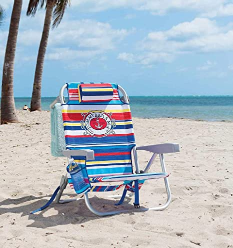 Tommy Bahama Silla de Playa Tipo Mochila Reclinan 5 Posiciones (Tropical Stripes)