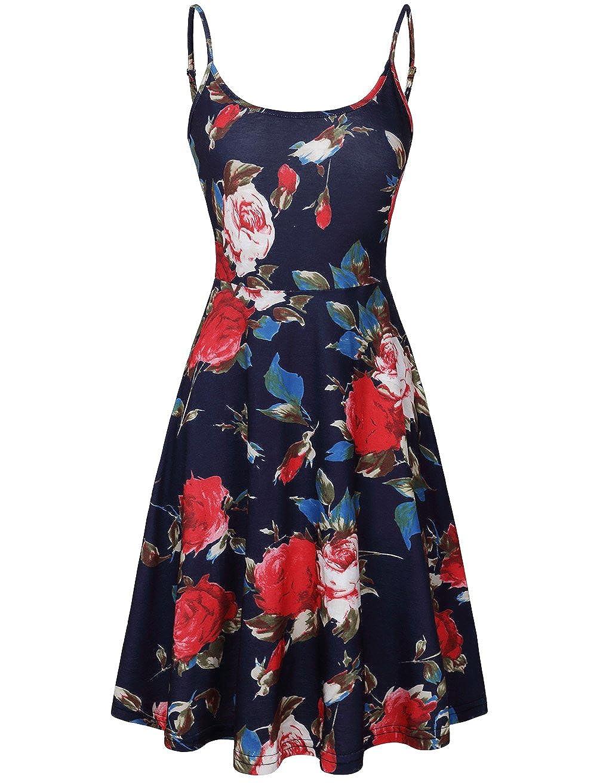 Deep bluee pink MOOSUNGEEK Women's Floral Print Beach Dress Adjustable Strappy Sleeveless Summer Swing Dress