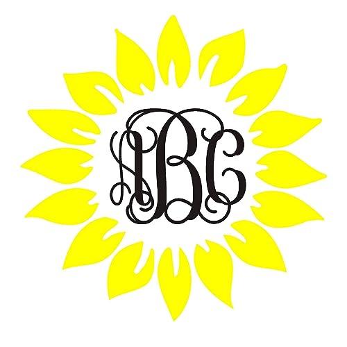 Sunflower Monogram Vinyl Decal