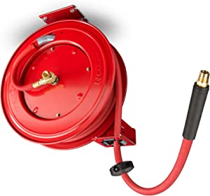 TEKTON 50-Foot x 1/2-Inch I.D. Auto Rewind Air Hose Reel with USA-Made Rubber Air Hose (250 PSI) | 46848