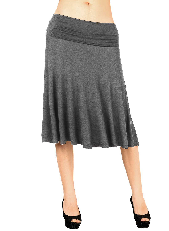 DJT FASHION Ladies Hosiery Knee Length Skirt,Summer Solid Color Elegant Pleated Hem Trumpet Flared Flowy Skirt XL Dark Grey
