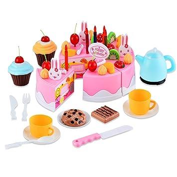 Gearmax 54 pcs Set de pastel de cumpleaños Juguete de los niños Con cuchillo pequeño,Tenedor Y galletas Postre (pink)