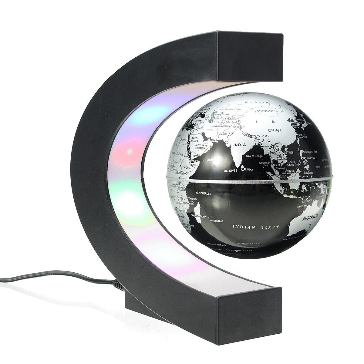 MECO Mappamondo Magnetico 3 Pollici Globo Magnetico Levitazione Elettronico Luce LED Decorazione Della Casa Ufficio Regali d'affari Studente Educazione Lampadina Argento e Nero