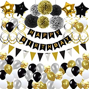 Birthday Decorations,Birthday Party Supplies include 113Pcs Banners Triangular Flag Hanging Swirls Paper Pompoms Pentagram Balloons Black and Gold Balloons for 20th 30th 40th 50th 60th 70th Party Supplies