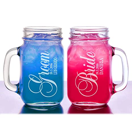 Bride And Groom Set Of 2 Personalized Mason Jars Drinking Mugs With Handle Personalized Custom Etched With Name And Date For Wedding Custom Engraved