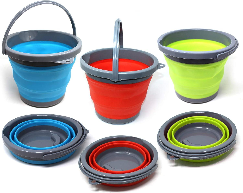 Conjunto de 3 Plegable Cubos, 5 Litros - Balde de Plástico para Limpieza del Hogar, Viaje, Aire Libre, Pescar y Camping - Duradero y de Alta Calidad