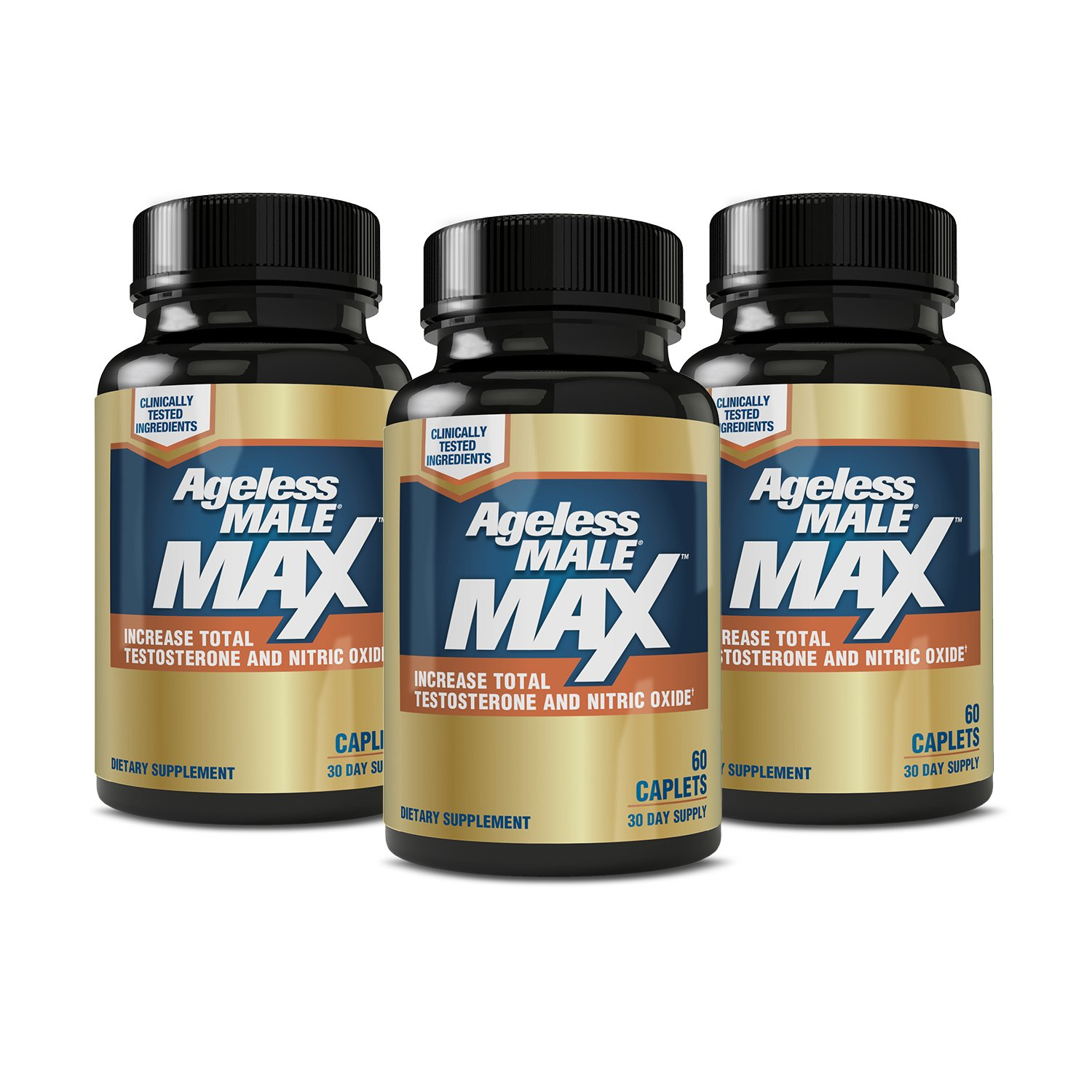 Ageless Male MAX Total Testosterone and Nitric Oxide Booster Supplement for Increasing Muscle Size, Stamina Enhancement, Sleep + Reducing Body Fat & Stress (3-Pack, 180 Tablets)
