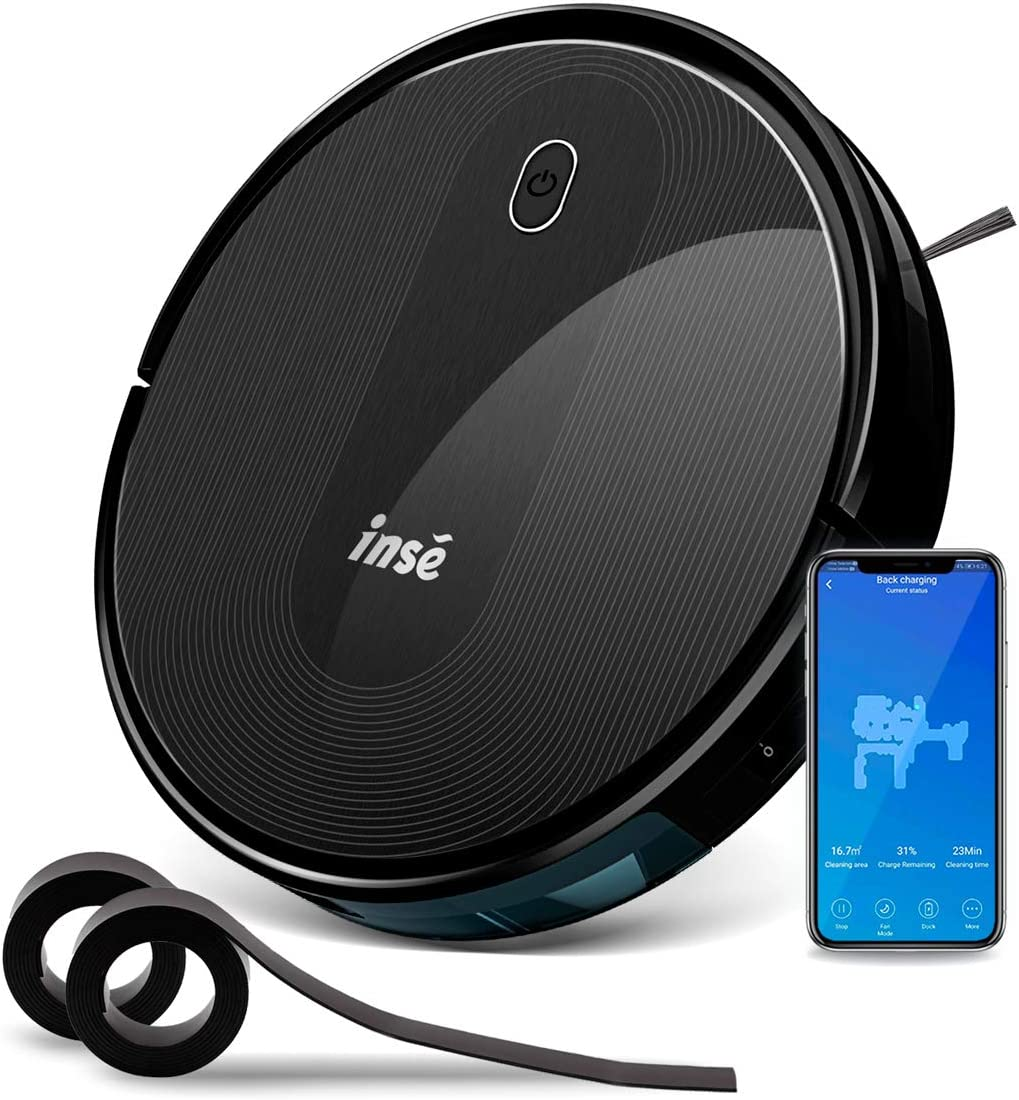INSE Robot Vacuum Cleaner with Self Charging and 1800Pa Powerful Suction, Works with Alexa Google Home and WiFi Connected, 2 of Boundary Strips for Pet Hair and Hard Floor Low Med Pile Carpet E5