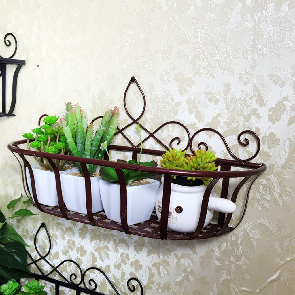 HY Flower Rack Ferro da muro stile europeo appeso a parete balcone soggiorno decorativo cremagliera fiore (colore   Retro copper colore, dimensioni   L50CMH27CM)