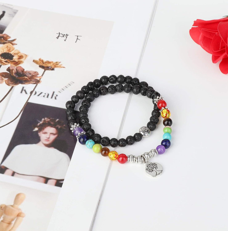 sailimue 3 Pcs Pierre de Lave Bracelet 7 Perles de Chakra Diffuseur dhuiles Essentielles Corde Elastique Arbre de la Vie Bracelet pour Homme Femme