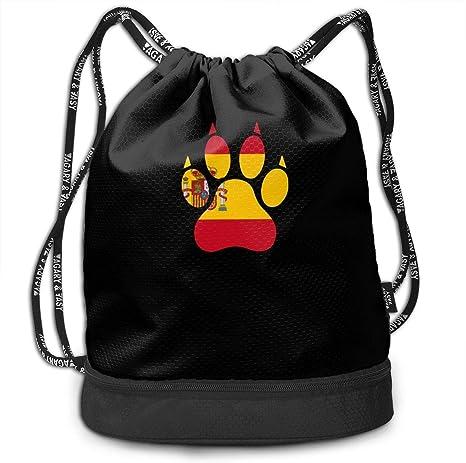 wwoman Bolso de Lazo de la Pata del Perro de la Bandera de España para Hombre y para Mujer, Mochila Original del Paquete del poliéster 100%: Amazon.es: Deportes y aire libre