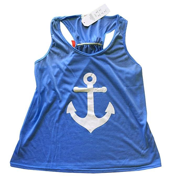 Azul marino chaleco – SODIAL (R) moda mujer verano azul marino Anchor chaleco Top