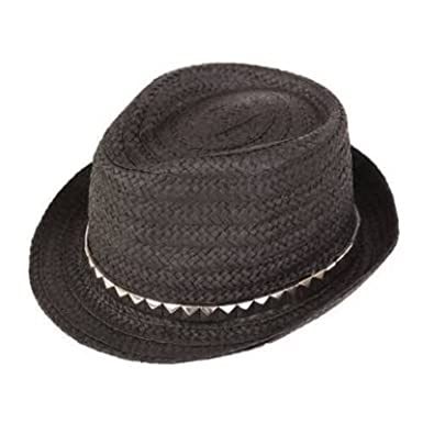 4103392ab Ladies Black Straw Trilby Hat With Studded Band 57cm