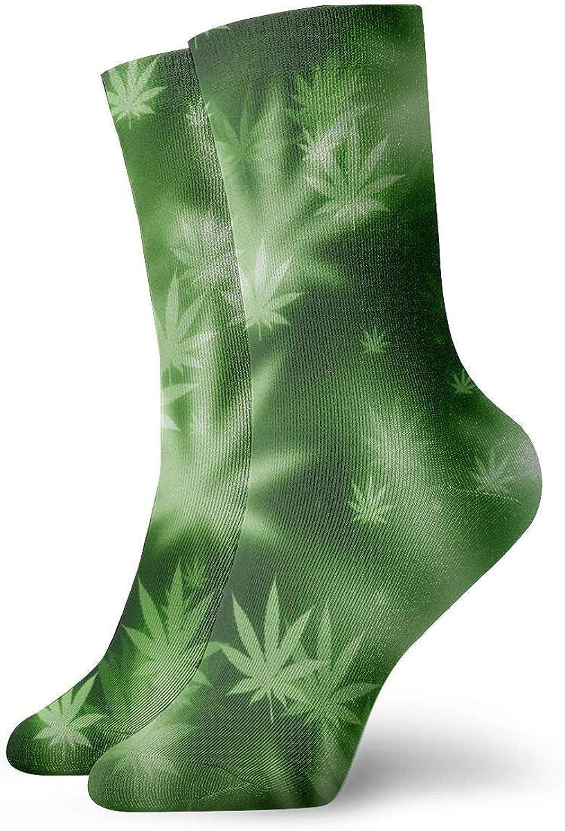 Wheatleya Adolescentes Poliéster Psicodélico Hoja de marihuana Hierba Hoja de marihuana Calcetines atléticos Botas Zapatillas de deporte Calcetines Calcetines elásticos suaves y cómodos para regalos