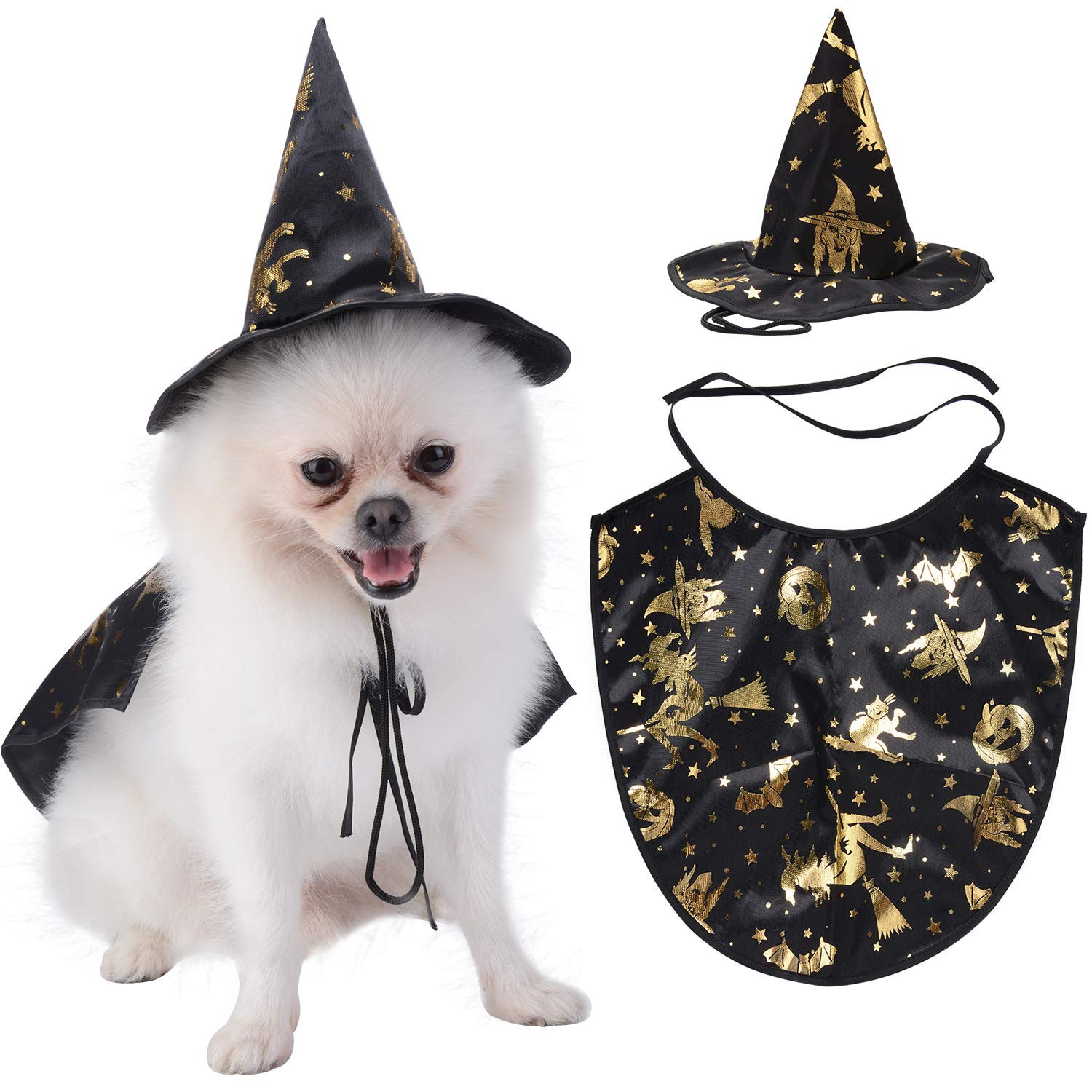 Legendog Dog Costume, Halloween Costumes for Small Dogs, Creative Dog Cape with Witch Hat, Halloween Pet Costume