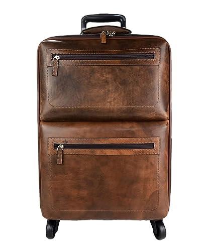 Bolso de viaje maleta equipaje de cuero trolley cuero marron oscuro bolso con ruedas y manejar