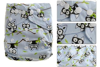 Aivtalk Bebé Niño Niña Pañal de Tela Felpa Corta Transpirable Lavable con Botones Cloth Diaper Absorbente