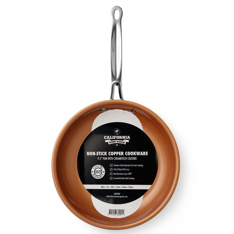 California Home Goods NonStick CermiTech Frying Pan 95 Copper