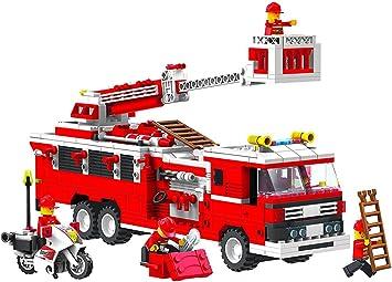 Top Race® Set de Construcción Camión de Bomberos (576 Piezas) con Jefe de Bomberos, Moto y Accesorios, Bloques de Construcción, Estilo Lego: Amazon.es: Juguetes y juegos