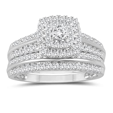 f4747e5c4 Amazon.com: 1 Carat TW Diamond Engagement Ring and Wedding Band Bridal Set  in 10K White Gold: SZUL: Jewelry