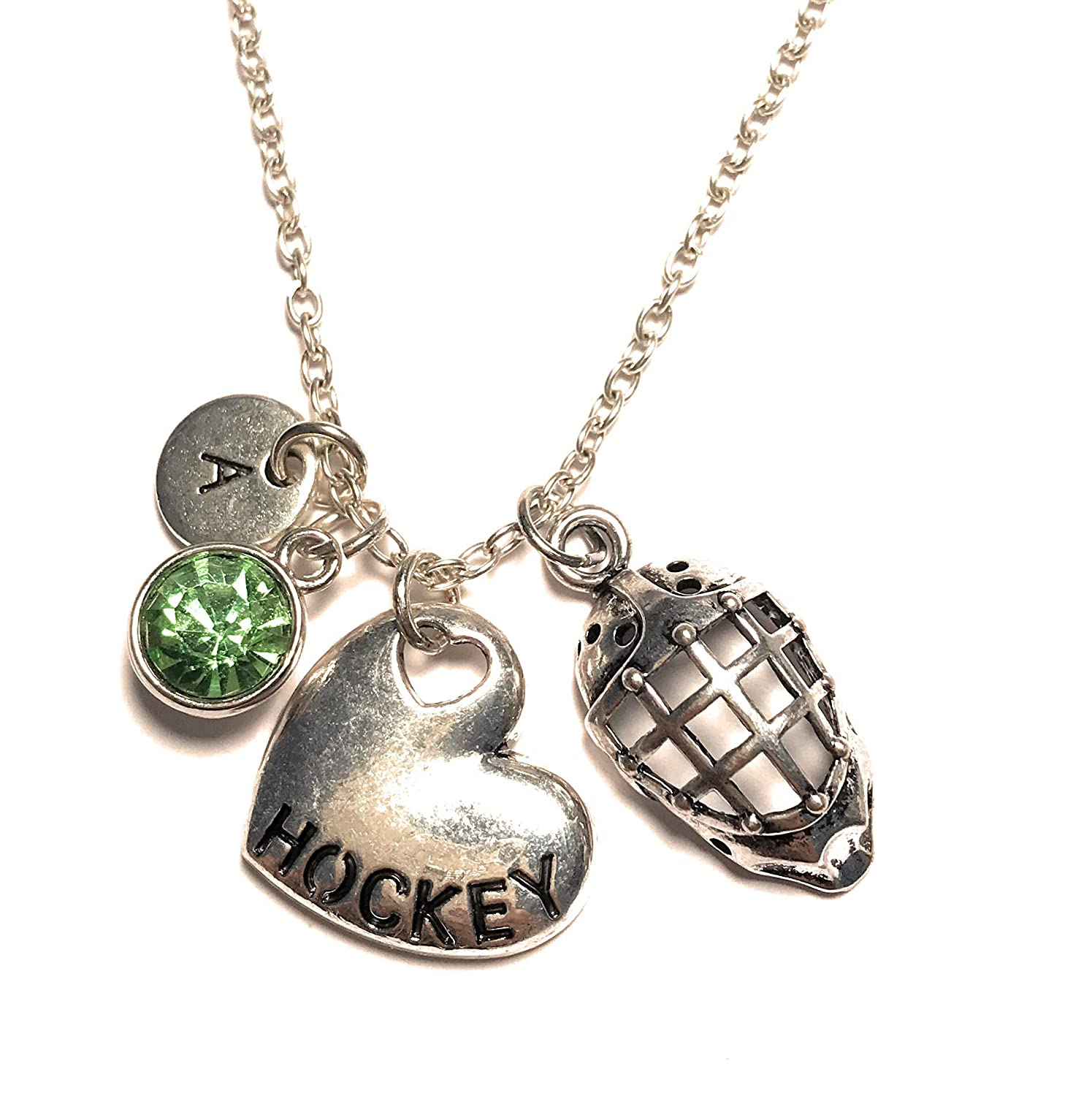 Hockey and Hockey Goalie Helmet Necklace Initial Letter Birthstone Silver Charm Pendant Customized Jewelry Gift