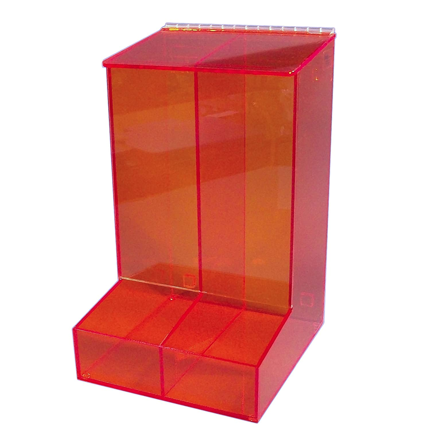 18 Height Amber 10.5 Width 1//4 Thickness S-Curve MCD-20 A Acrylic 2 Compartment Glove Dispenser with Front Access Tray 12 Depth