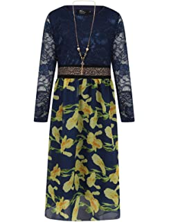 Aelstores Girls Maxi Dress with Diamante Belt Asymmetric Long Sleeve Chiffon Polka Dots Dress with Gold Waistband Party Occasion Outfit Age 3-13 Years