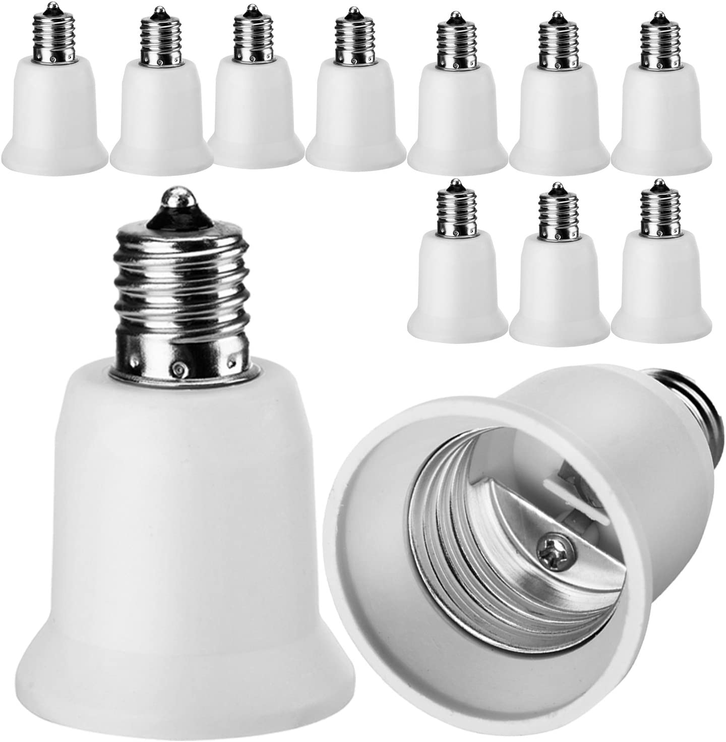 10-Pack E17 to E26 Adapter Converter JACKYLED Chandelier Socket to Medium Socket E17 to E26 Light Socket Adapter Max Wattage 150W