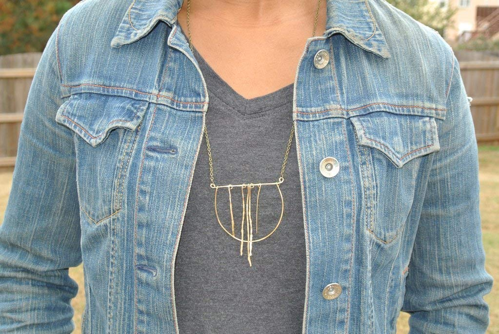 Open Circle Geometric Dancing Gold Brass Statement Necklace Antique Brush Finish Chain 24 inches Long with 3 inches Wide Pendant