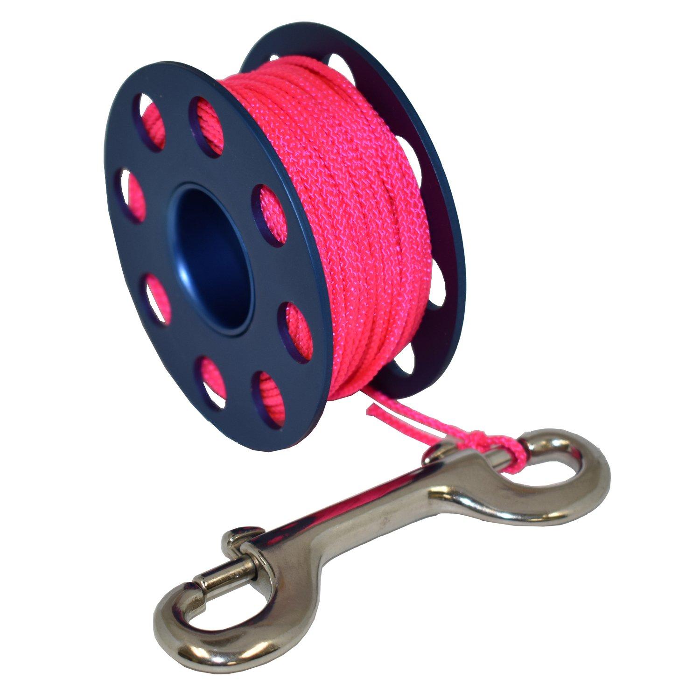 Scuba Choice Aluminum Finger Spool 75ft Dive Reel w/Bolt Snap-Blue/Pink