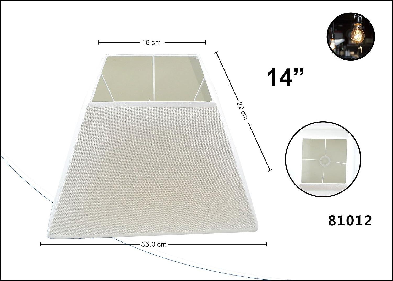 Lampenschirm Flachs schräg eckig Stoff Textil Leinen Shabby Chick eckig Lampe Schirm E27 10 Zoll beige LinQ®