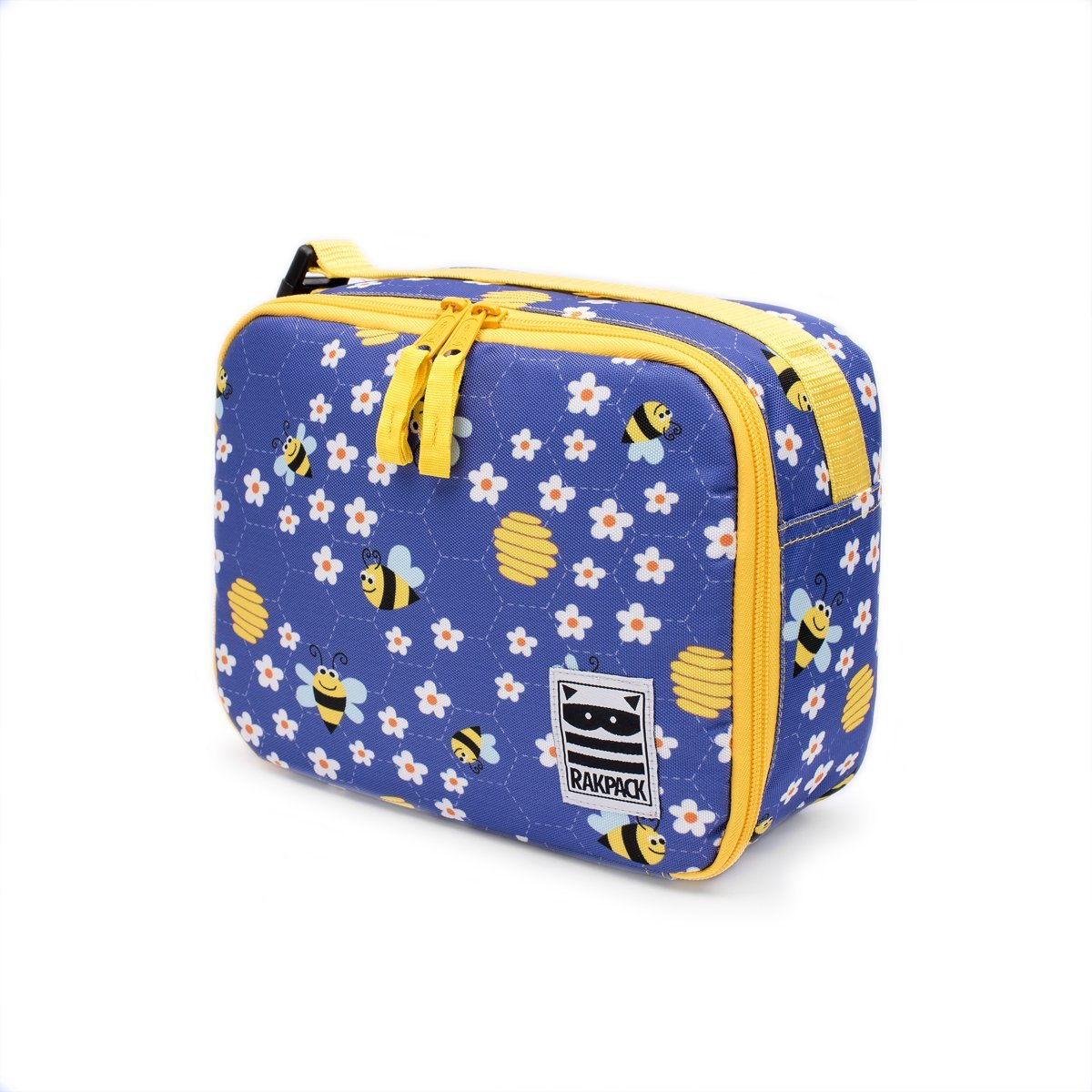 Rakpack Bumble Bee Lunch Box for kids and toddlers, Ultraviolet + Yellow