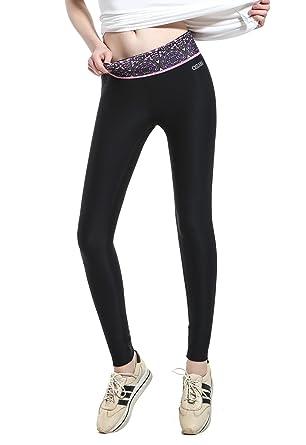 0ad9e2b3b098f OSIANA Women's Workout Active Running Yoga Pants Tights Fitness Leggings  Capri Reversible Purple S